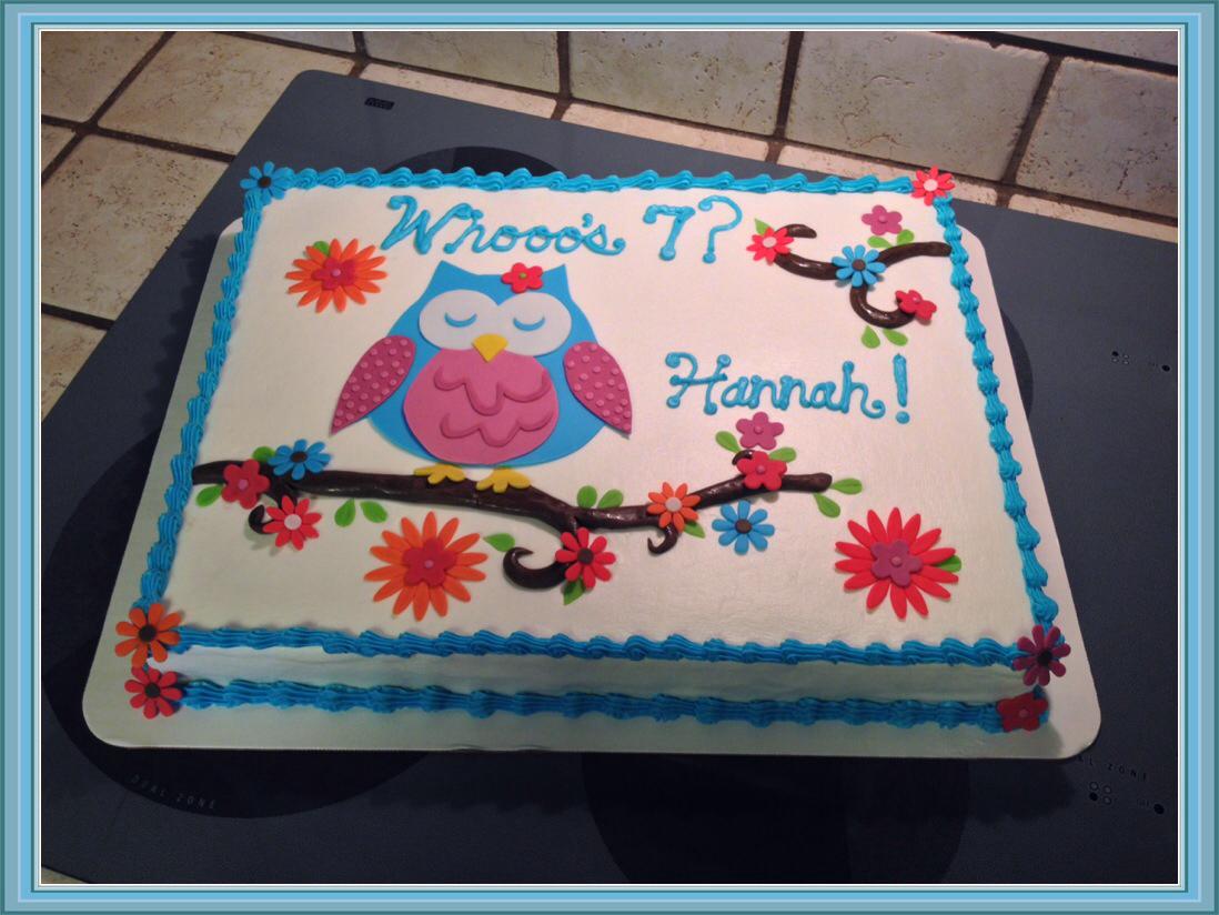 Awe Inspiring 12 Owl Birthday Sheet Cakes Photo Owl Birthday Sheet Cake Owl Funny Birthday Cards Online Aeocydamsfinfo
