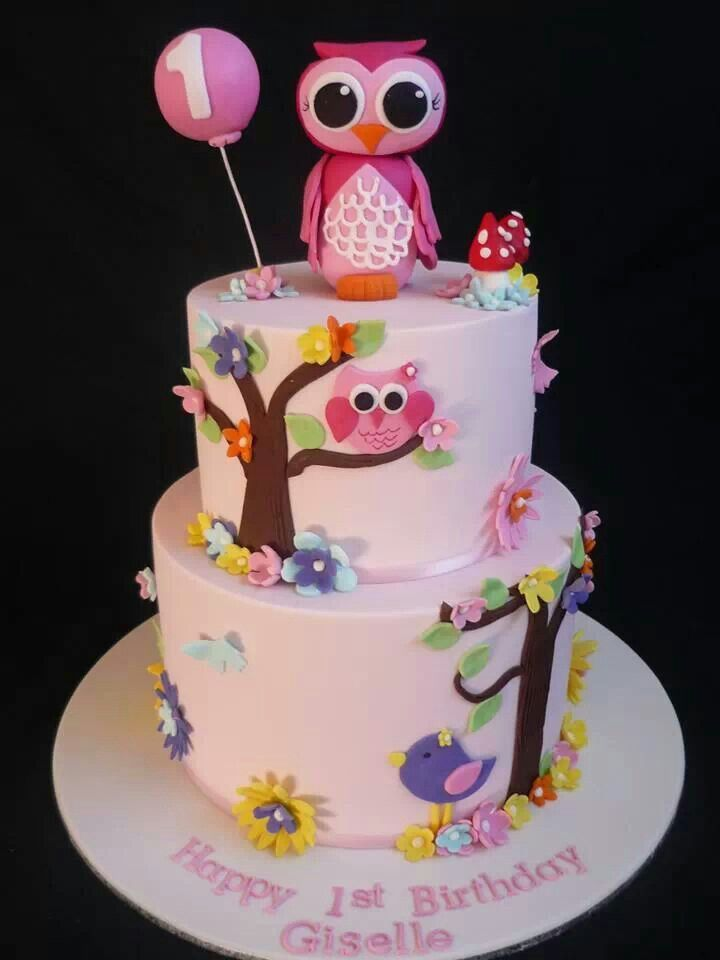 11 Girls Owl Birthday Cakes Photo Owl 1st Birthday Cake Baby Girl