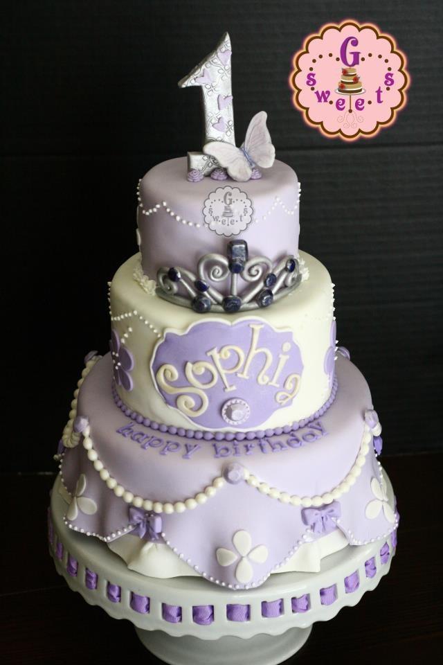 Superb 8 Pink Birthday Cakes Sophia Photo Sofia The First Birthday Cake Personalised Birthday Cards Arneslily Jamesorg