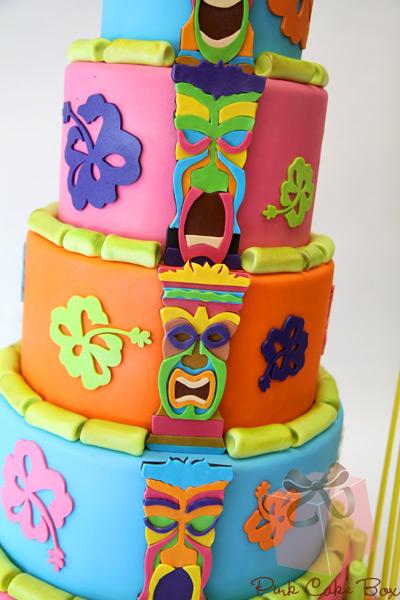 Fabulous 11 Colorful Centers With Cakes Photo Tiki Luau Birthday Cake Funny Birthday Cards Online Elaedamsfinfo