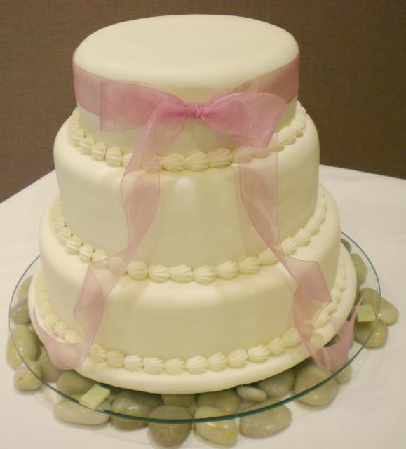 9 Pink Ribbon Wedding Cakes Photo - Wedding Cake with Ribbon, Pink ...
