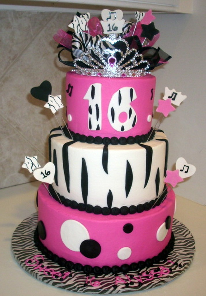 10 Sweet Sixteen Cakes For Girls Zebra Print With The Name Michaela