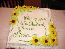 bridal shower sheet cake sunflowers