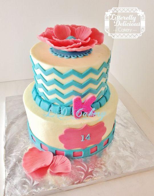 13 14th Birthday Cakes Chevron Photo Chevron 14th Birthday Cakes