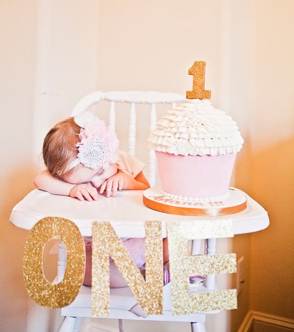 6 Girls First Birthday Cakes Pink And Gold Photo Gold And Pink 1st