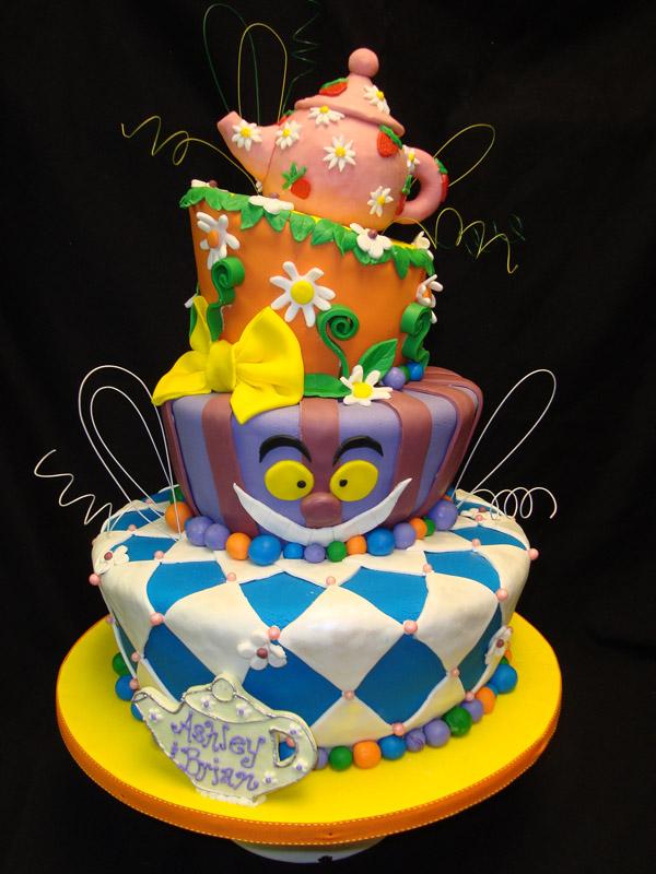 12 Mad Hatter Topsy Turvy Wedding Cakes Photo - Topsy Turvy Wedding ...