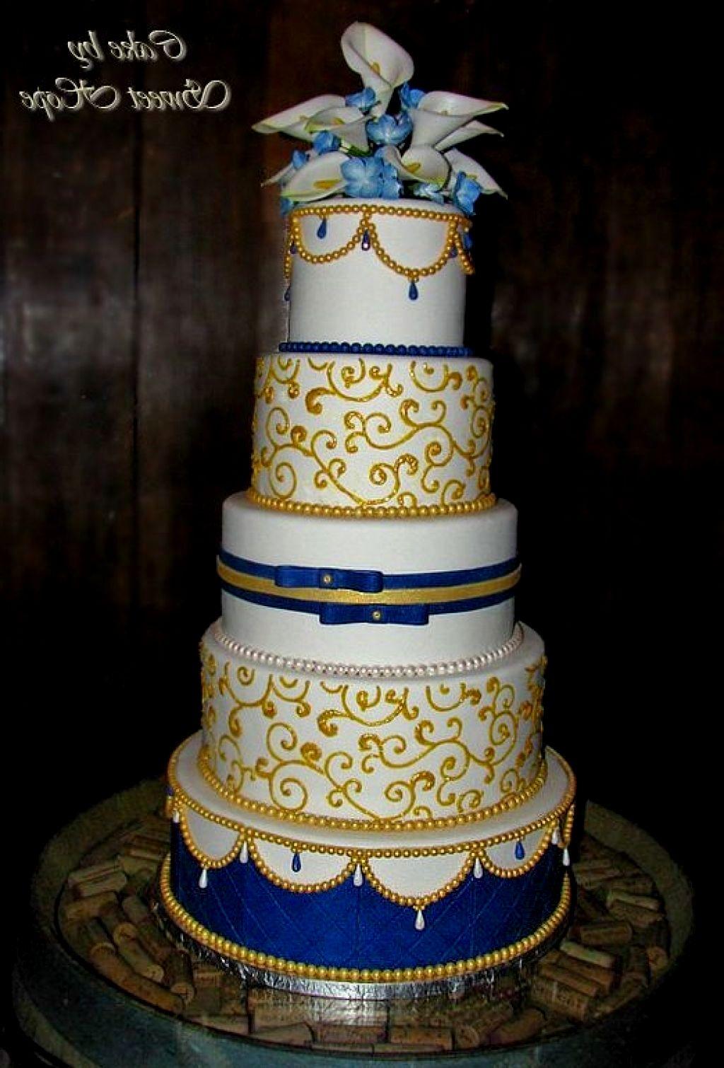 12 Royal Gold Cakes Photo Blue And Gold Wedding Cake Royal Blue