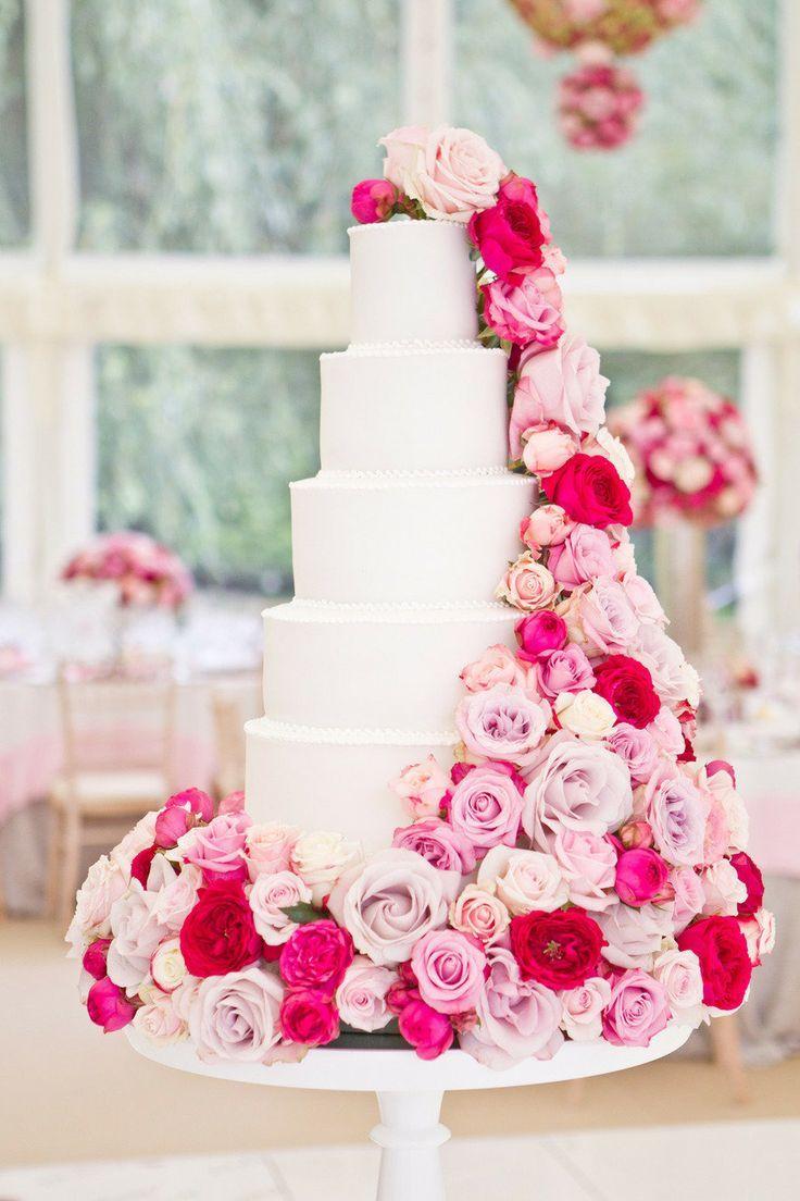 11 Glamorous Wedding Cakes With Pink Roses Photo - Wedding Cake with ...