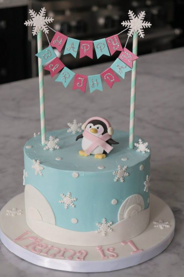 Winter Wonderland First Birthday Cake