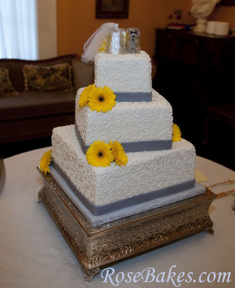 12 Grey Yellow White Wedding Cakes Photo , Yellow Gray