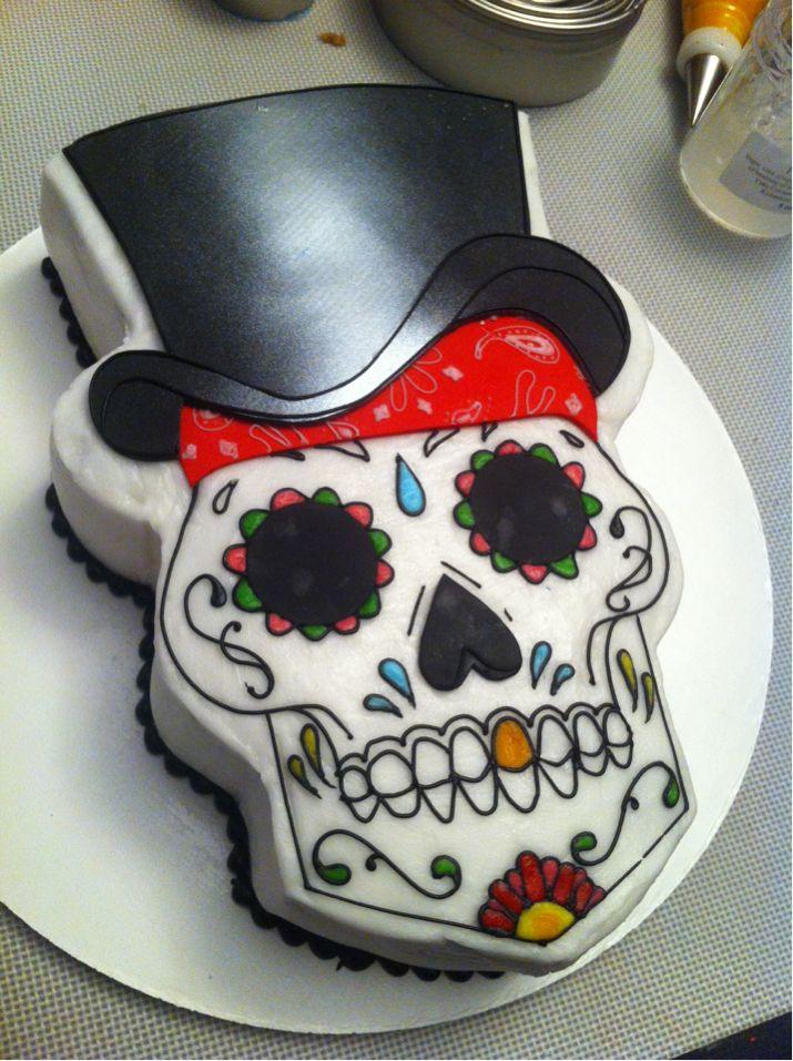 Outstanding 7 Skull Birthday Cakes For Men Photo Sugar Skull Cake Happy Funny Birthday Cards Online Eattedamsfinfo