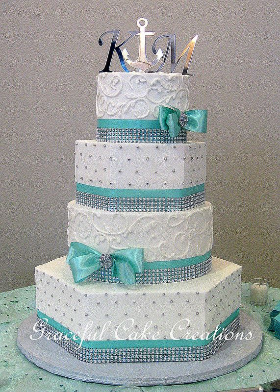 12 Tiffany Blue And Grey Wedding Cakes Photo Tiffany Blue Wedding