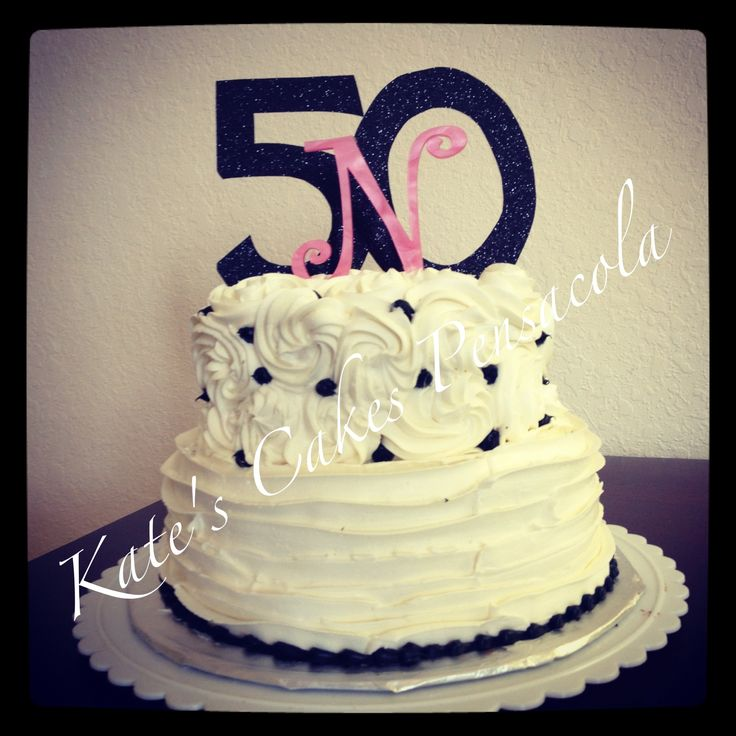 Two Tier 50th Birthday Cake With Buttercream