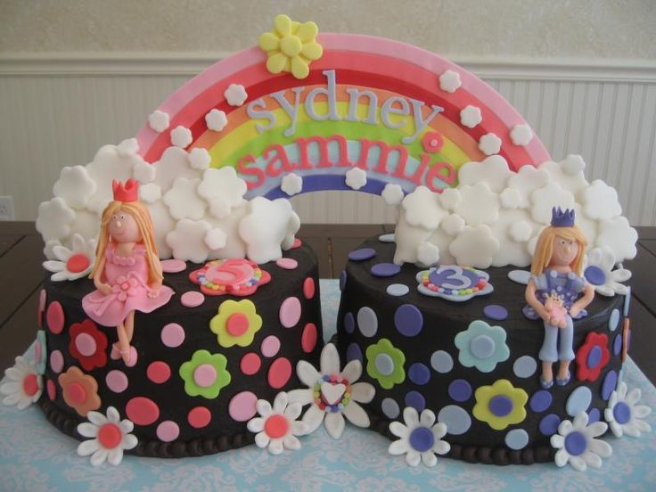 Excellent 7 Twin Girl Birthday Cakes Photo Birthday Cake Ideas For Twins Personalised Birthday Cards Veneteletsinfo
