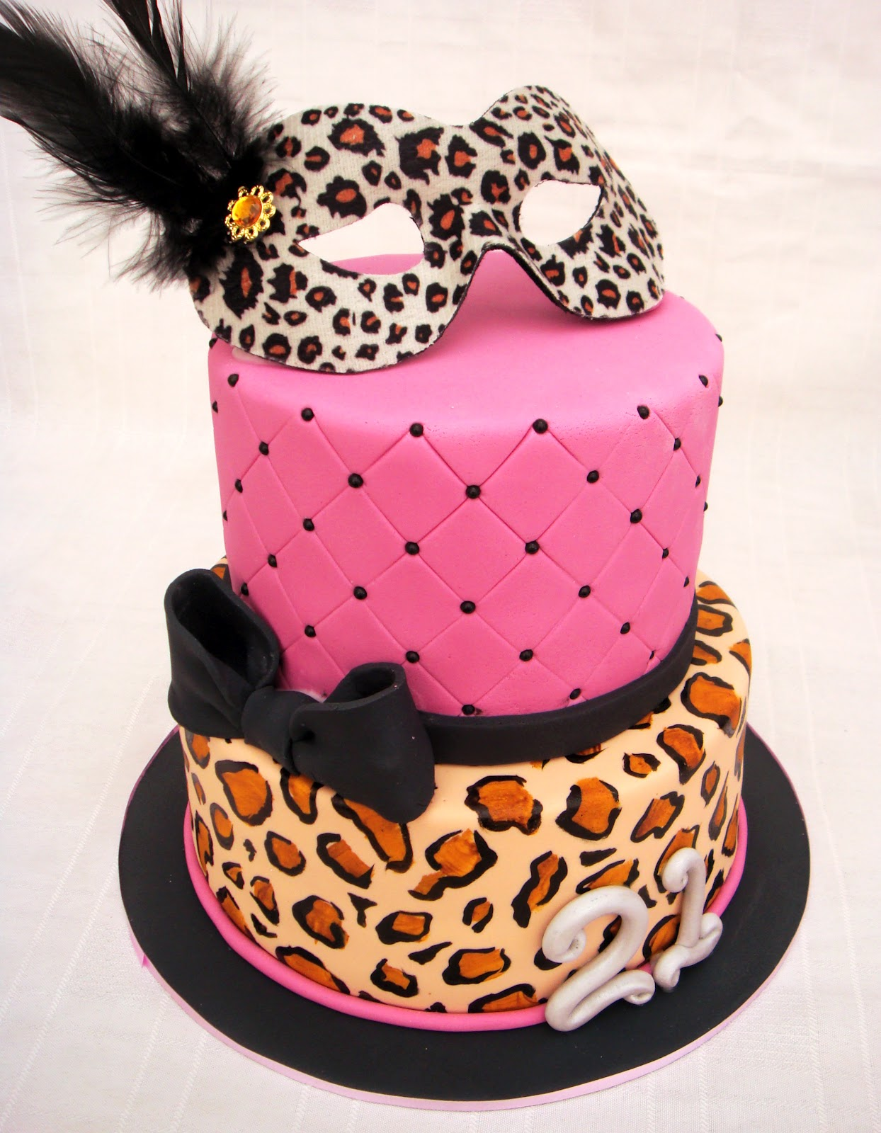 Black And Pink Leopard Birthday Cake
