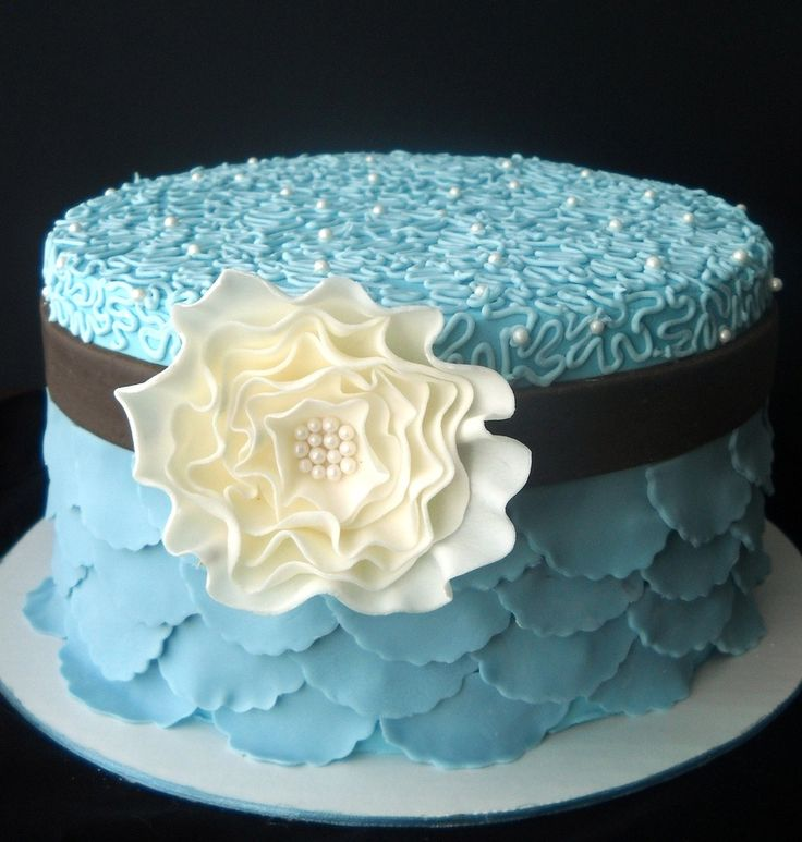 10 Blue Anniversary Cakes Photo Blue Flower Birthday Cake 25