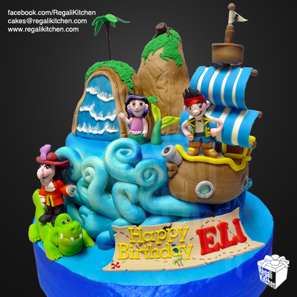 Prime 8 Cartoon Pirate Cakes Photo Captain Jake And The Neverland Personalised Birthday Cards Arneslily Jamesorg