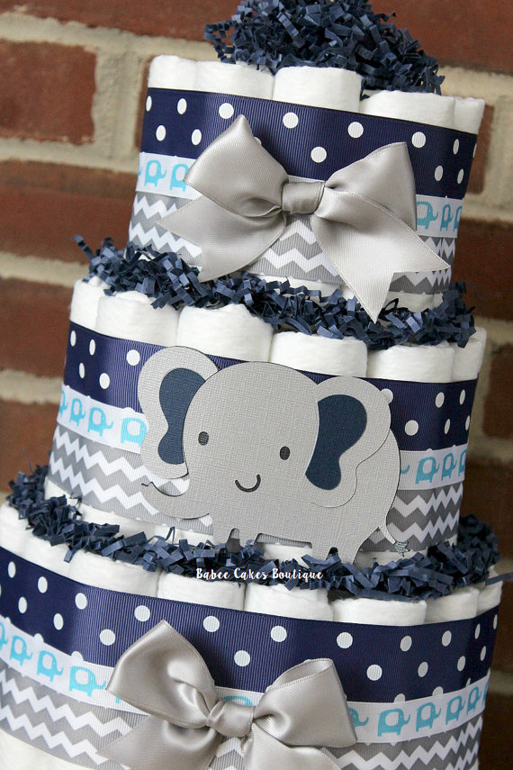 11 Blue And Gray Baby Boy Showers Diaper Cakes Photo Baby Boy