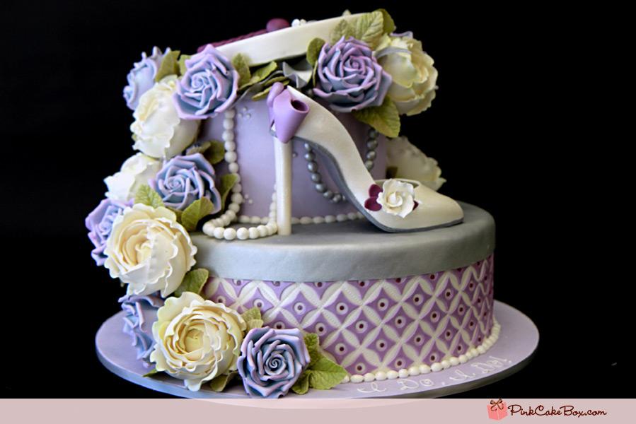 bridal shower hat box cake