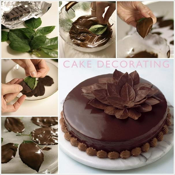 Attractive Chocolate Cake With Leaf Decorations