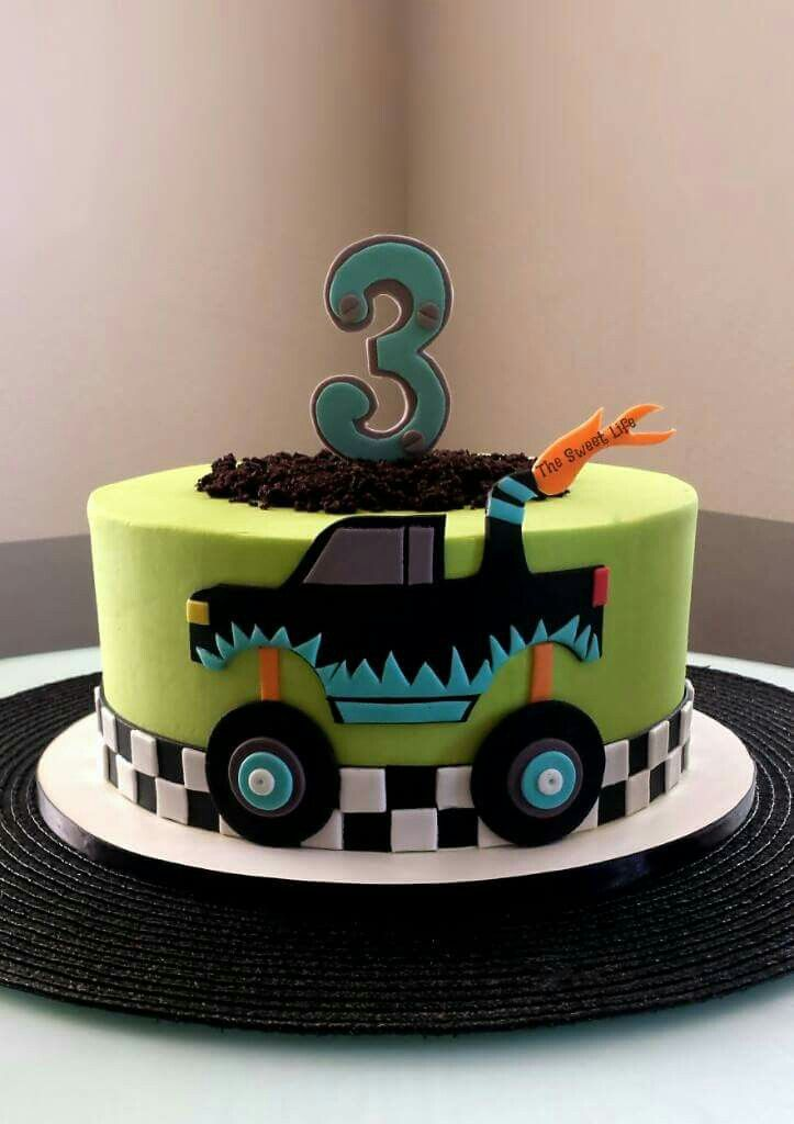 Fantastic 10 Monster Truck Birthday Cakes For Kids Photo Boys Monster Funny Birthday Cards Online Elaedamsfinfo