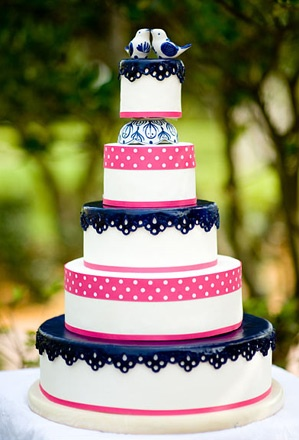 10 Hot Pink And Navy Blue Wedding Cakes Photo Navy Blue And Pink