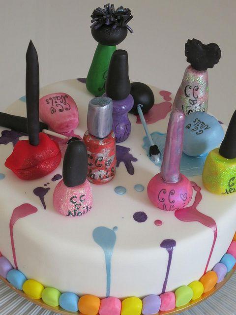 7 Nail Salon Birthday Party Cakes Photo Nail Polish Cake Spa Nail