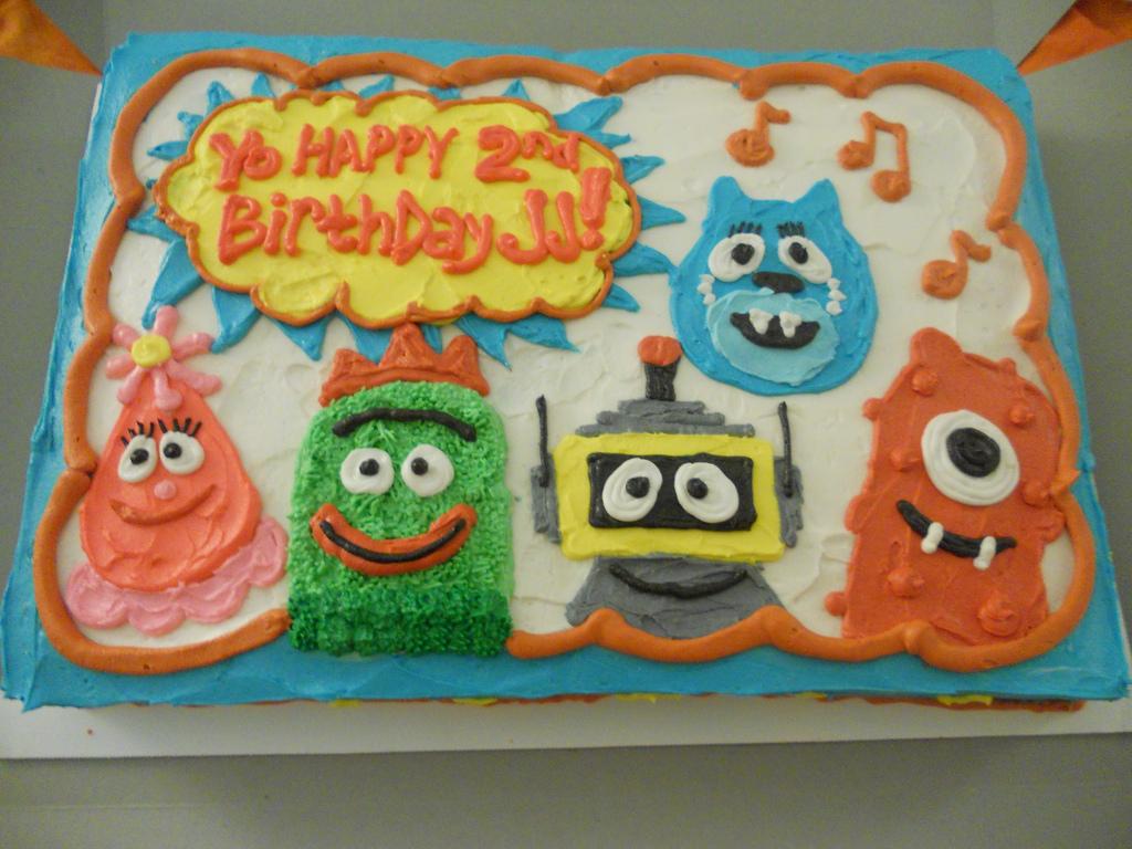 Amazing 9 Gabba Gabba Birthday Cakes Photo Yo Gabba Gabba Birthday Cake Funny Birthday Cards Online Elaedamsfinfo