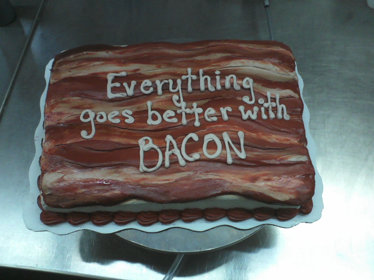 Awesome 10 Cakes Made With Bacon Photo Bacon Birthday Cake Bacon Funny Birthday Cards Online Aboleapandamsfinfo