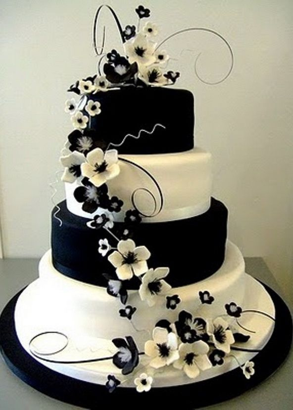 10 Black And Blue Themed Wedding Cakes With Flowers Photo Blue And