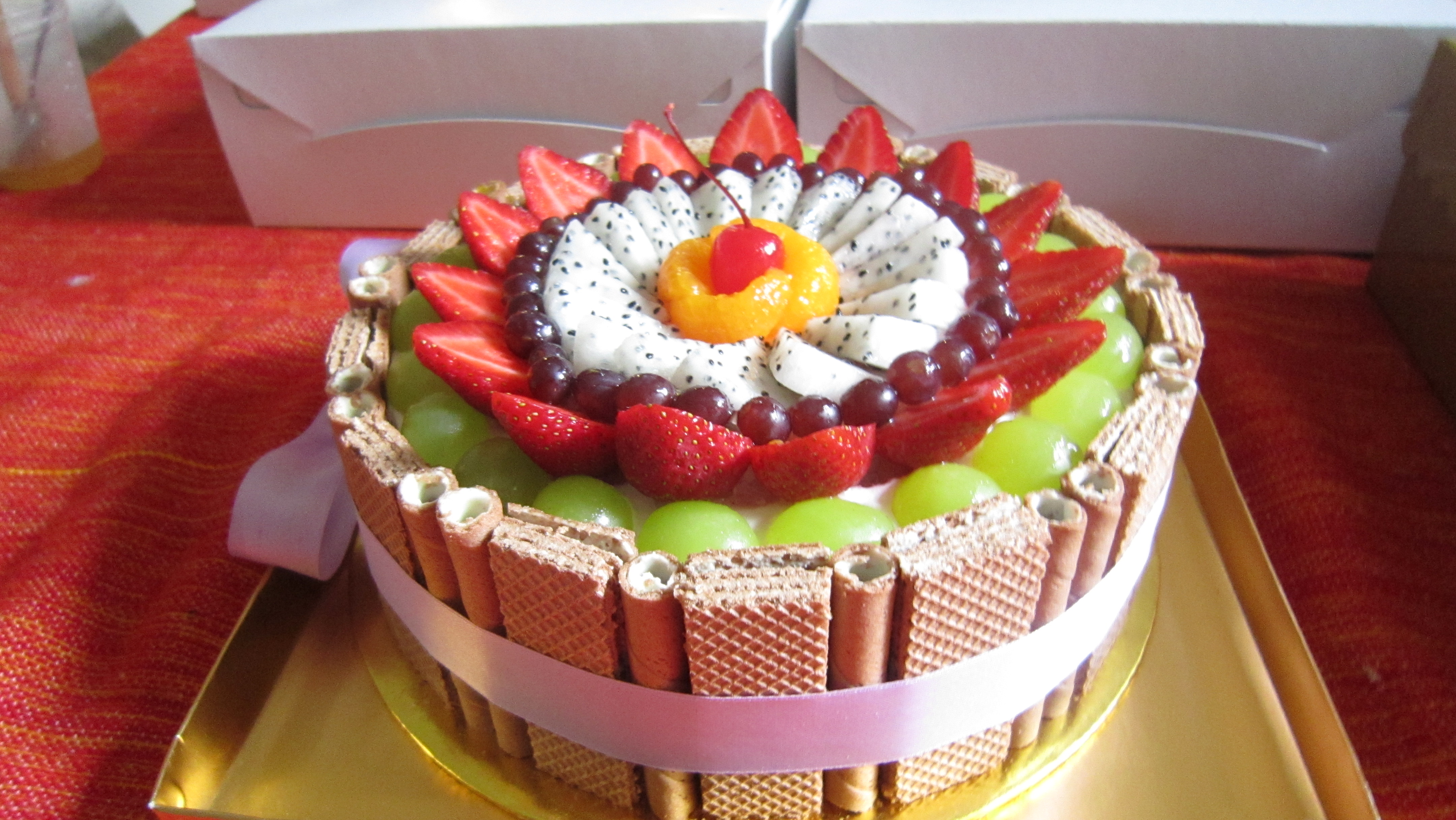 10 Fruit Cakes On Top Sheet Photo FruitFilled Sponge Cake
