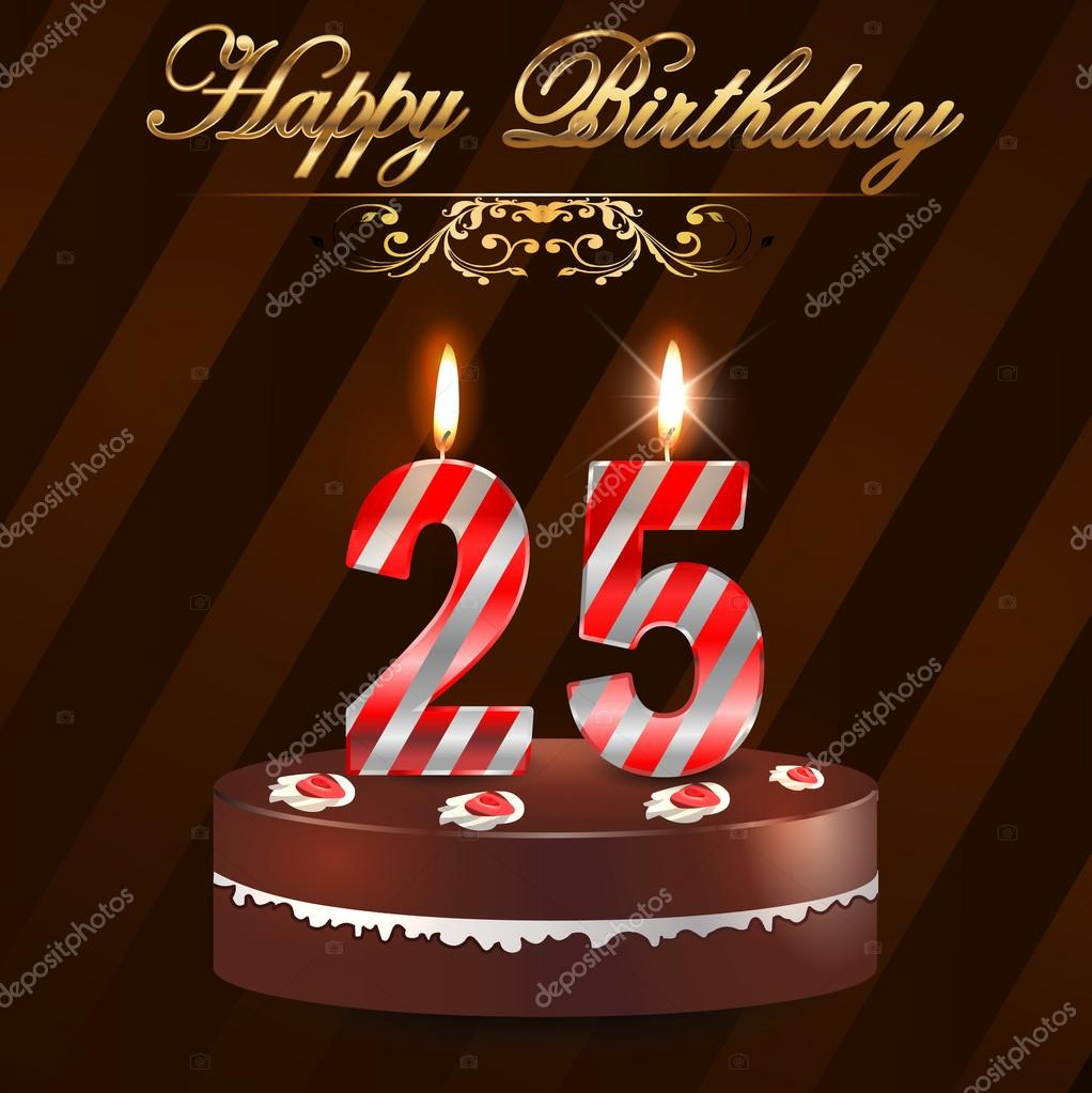 6 25th Birthday Cakes With Candles Photo Happy Birthday Cake With