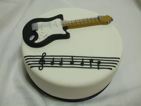 Happy Birthday Guitar Shaped Cakes