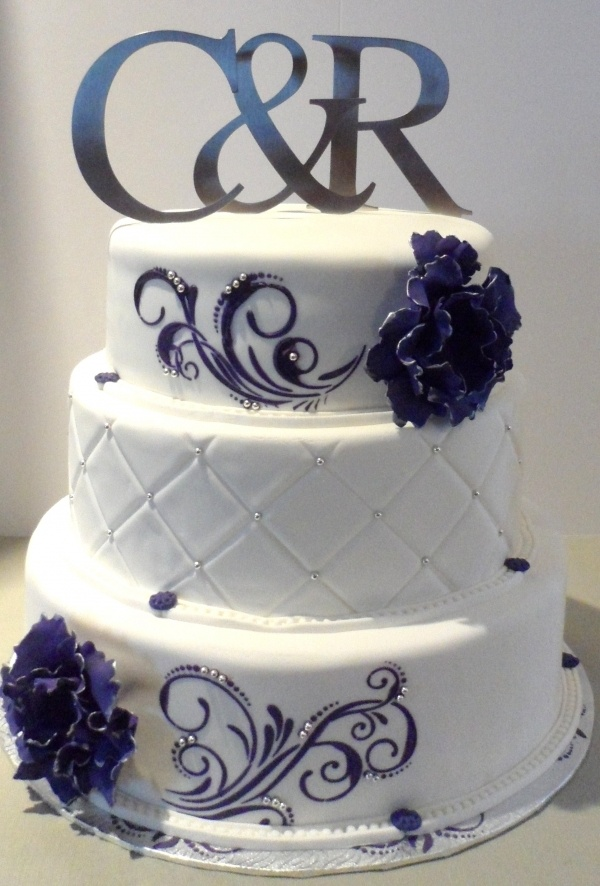 8 Dark Purple And Silver 3 Tier Wedding Cakes Photo - Black Purple ...