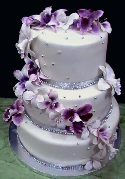 8 Dark Purple And Silver 3 Tier Wedding Cakes Photo Black Purple