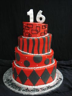Red And Black 16th Birthday Cake