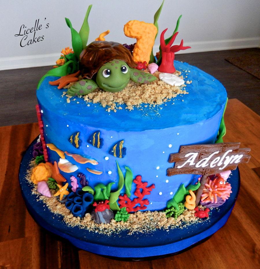 Stupendous 8 Underwater Turtle Cupcakes Photo Underwater Themed Cupcakes Personalised Birthday Cards Veneteletsinfo