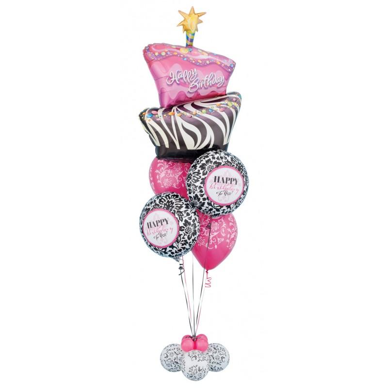 Happy Birthday Cake Balloon Bouquet