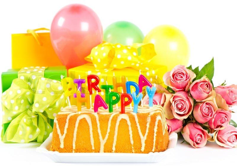 Happy Birthday Cake Balloons And Flowers