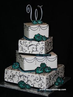 8 Grey And Aqua Wedding Cupcakes Photo - Turquoise Black and White ...