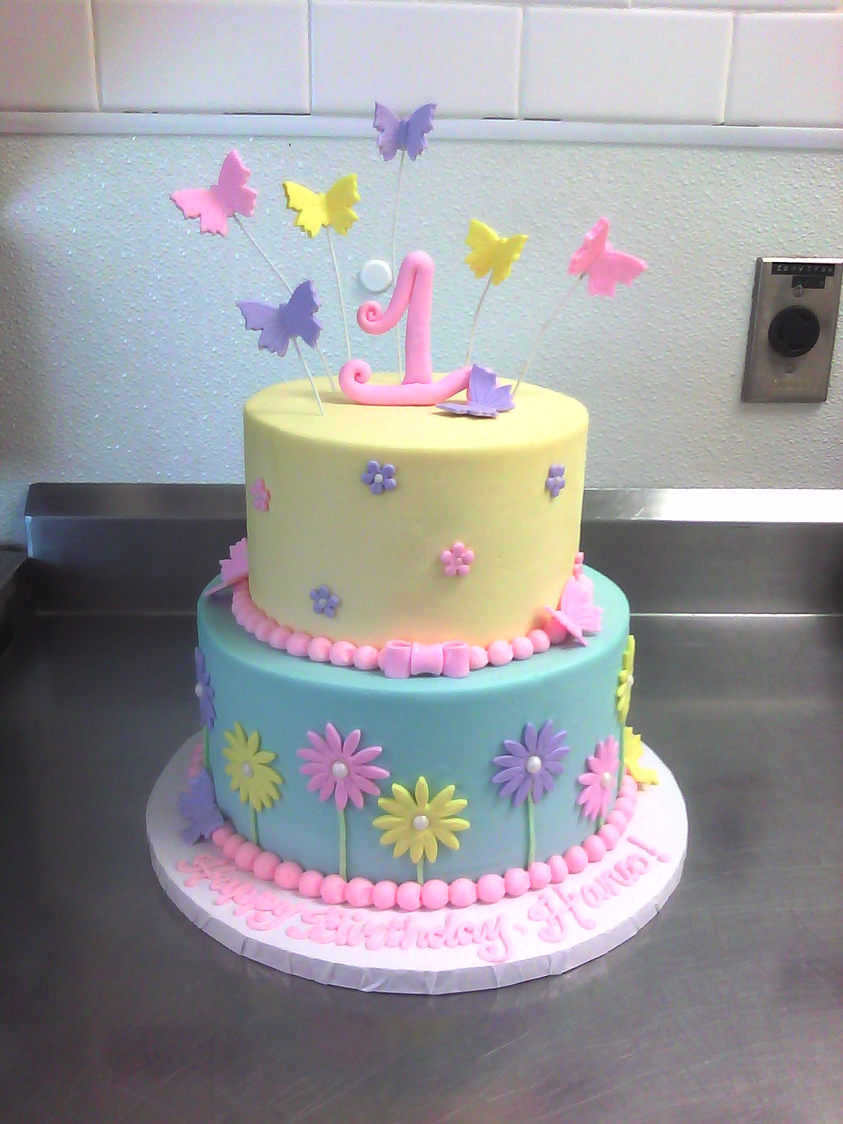 Superb 11 Flowers And Butterfly Girl Birthday Cakes Photo Girl 1St Funny Birthday Cards Online Necthendildamsfinfo