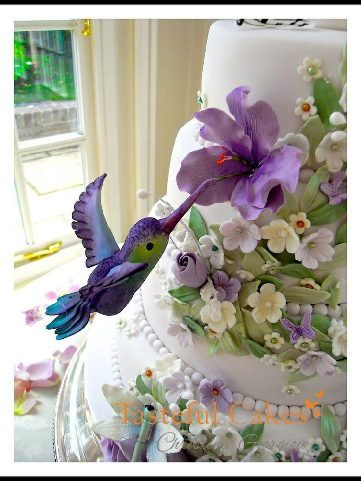 Awe Inspiring 8 Hummingbird Drawings On Cakes Photo Blossoms And Bird Wedding Funny Birthday Cards Online Necthendildamsfinfo