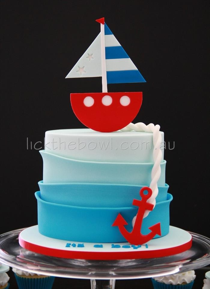 7 Simple Sailboat For Baby Shower Cakes Photo Nautical Sailboat