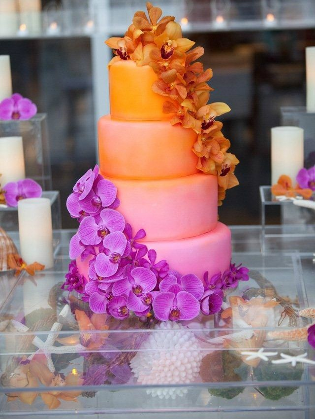 9 Purple And Orange Wedding Theme Cakes Photo - Purple Green and ...