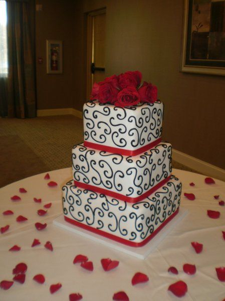 9 Red And Black Scroll Cakes Photo Red White And Black Wedding