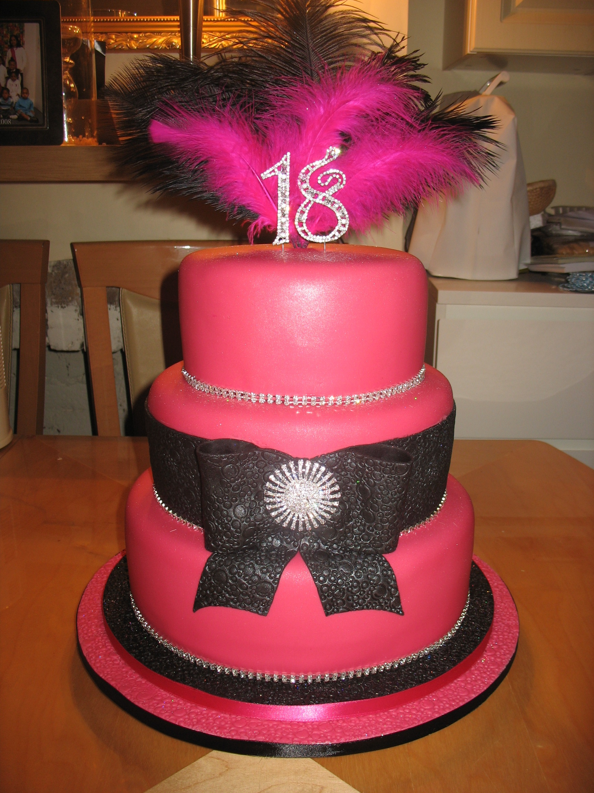 12 Black And Pink Tiered Cakes Photo Pink Black And White Tiered
