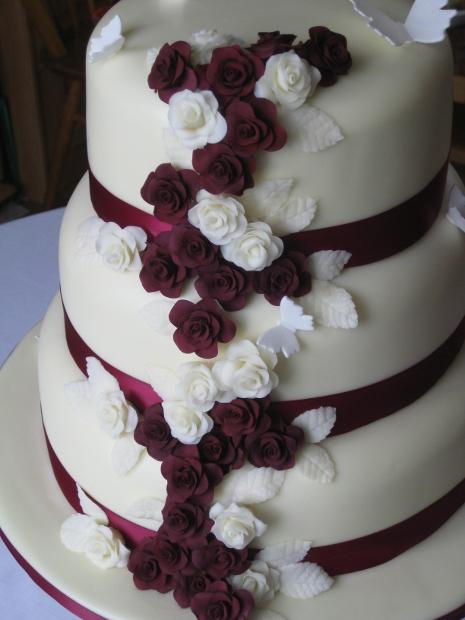 12 Gray And Burgundy Wedding Cakes Photo Burgundy Grey Wedding