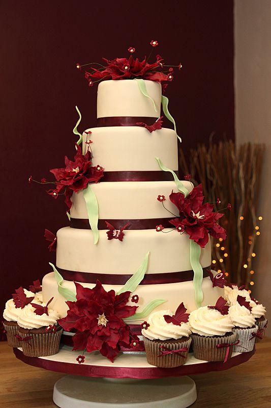 8 Burgundy White Wedding Cakes With Flowers Photo Burgundy Wedding