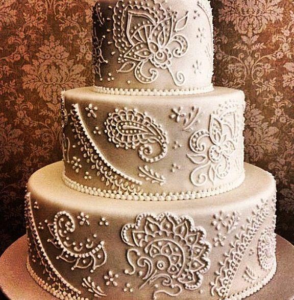 11 Mehndi Patterns For Wedding Cakes Photo Henna Wedding Cake