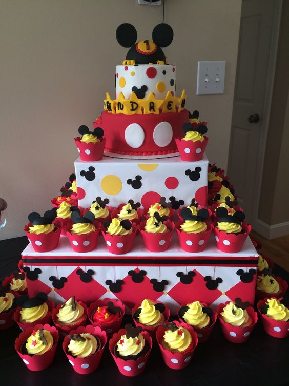 Astonishing 10 First Bithday Mickey Mouse Cake Cupcakes Photo Mickey Mouse Personalised Birthday Cards Veneteletsinfo